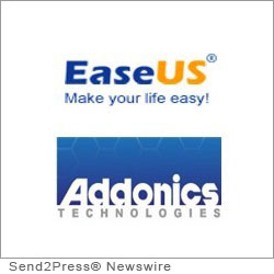 NEW YORK CITY, N.Y. (SEND2PRESS NEWSWIRE) -- EaseUS Software, a leading provider of backup, data recovery and storage management solutions for Windows environments, builds a strong partnership with Addonics Technology, a privately held company for providing professionals and business users innovative storage solutions with the highest quality and best compatibility in mind.