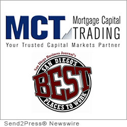 SAN DIEGO, Calif. (SEND2PRESS NEWSWIRE) -- MCT Trading, Inc. (MCT), a recognized leader in mortgage pipeline hedging and risk management services, announced that is has been named as one of the 2012 Best Places to Work in San Diego, California by the San Diego Business Journal (SDBJ).