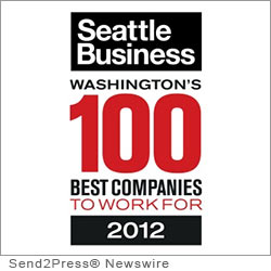 SEATTLE, Wash. (SEND2PRESS NEWSWIRE) -- Sales Talent Inc., a sales recruiting firm based in Mercer Island, Wash., was selected as one of Washington State's 100 Best Companies to Work For by Seattle Business Magazine. Awards were presented during a cocktail reception and dinner at the Westin Seattle on June 14, hosted by Brock Huard, with a keynote by Seattle Seahawks Head Coach Pete Carroll.