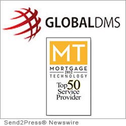 LANSDALE, Pa. (SEND2PRESS NEWSWIRE) -- Global DMS, the leading provider of enterprise Web-based appraisal management software, announced that it has been named to Mortgage Technology magazine's coveted Top 50 Service Providers list for the fourth year in a row.