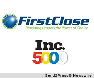 AUSTIN, Texas (SEND2PRESS NEWSWIRE) -- FirstClose, a leading aggregator of mortgage settlement services, announced that it has been named to Inc. 5000's 2012 fastest-growing private companies list. FirstClose ranks 2,876 with an industry rank in the real estate category of 47 and notable three-year sales growth of 79 percent.