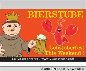 PHILADELPHIA, Pa. (SEND2PRESS NEWSWIRE) -- Bierstube asks what better gift on the Feast of Saint Nicholas (Santa Claus) than to announce year round celebration of another red love, Lobstoberfest? Bierstube's Lobstoberfest kicked off Oktoberfest serving over 200 pounds of fresh Maine Lobster in two days. This feast is now available every Sunday and includes a fresh 1 1/4 lb Lobster and vegetable for the value price of $14.99.